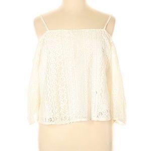 AERIE Cold Shoulder Crochet Blouse